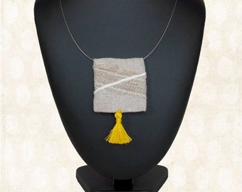 hippie square textile necklace