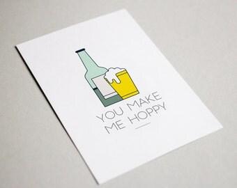 Craft Beer You Make Me Hoppy Funny Beer Romantic Printable Greeting Card