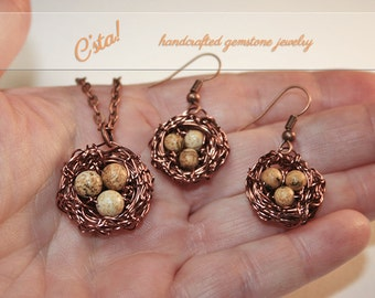 Bird Nest Necklace and Earrings in Antiqued Copper
