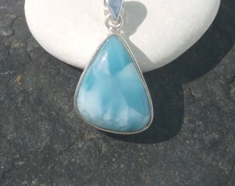 Larimar Pendant Handmade In Sterling Silver 925, Handcrafted