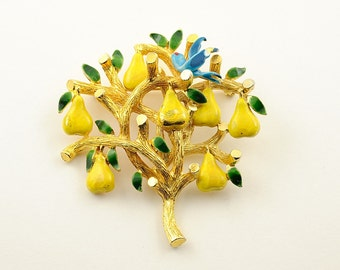 Cadoro partridge in pear tree brooch