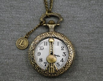 Shanghai Oriental Pearl Tower Pocket Watch Antique Bronze Watch Fob Mens Pocket Watch Pendant 46mm -for gifts -P623