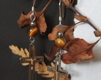 Sanctuary - Silver Cross and Tiger's Eye Hook Earrings