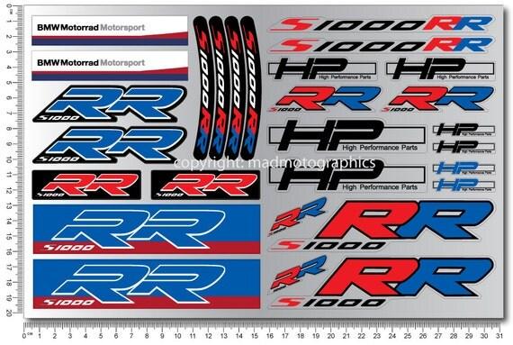 bmw motorrad s1000rr hp4 2 decal sheets set 28 stickers. Black Bedroom Furniture Sets. Home Design Ideas
