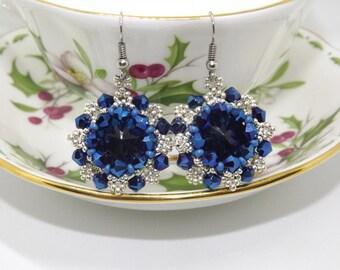 Beaded earrings/Andromeda/Earrings earrings with glass crystal/Silver Earrings