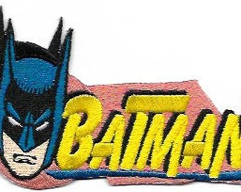 Retro Batman Embroidered Patch /  Iron On Applique, Superhero, DC Comics