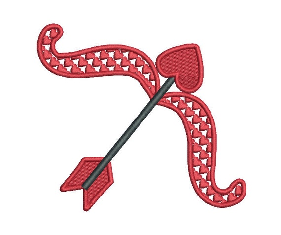Cupid s bow arrow machine embroidery design fill stitch