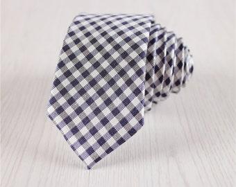 gingham silk ties for men.dark blue necktie.plaid necktie for wedding.gifts for men.silk accessories.modern fashion accessories+nt.114s