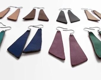 Asymmetrical Leather Earrings / Geometric Earrings / Genuine Leather Earrings / Asymmetrical Jewelry / Geometric Jewelry / Leather Jewelry