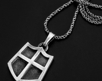 Sterling silver shield pendant-Vikings jewelry-Templar-medieval-Mens Protection Jewelry