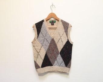Hunting Horn 80s Argyle Wool V Neck Sweater Vest