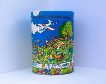 Adorable Vintage Colorful Cartoon Rare Tin Can - Day at the Park, 4th of July Picnic w/ Airplanes