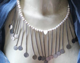 Maasai beaded necklace.  White beads.  Lots of dangles, fun tribal Kenyan.  Masai.  Authentic tribal.  Bijoux ethniques