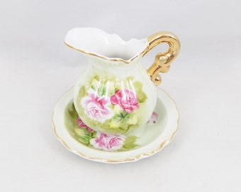 Lefton Heritage Green, Miniature Pitcher and Bowl, Discontinued Pattern 4577