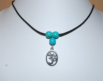 Om Necklace,Turquoise Beads,Om Leather Chocker Necklace,Choker Necklace,Girl,Woman,Cord Necklace,Yoga Necklace,Buddhist,Lobster Lock End