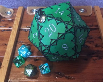 Leather D20 dice bag- Green