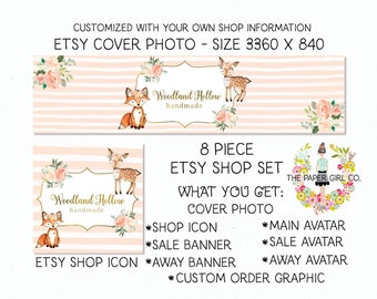 etsy shop set etsy cover photo set etsy banner set fox etsy shop set deer etsy shop set premade shop set woodland etsy shop set etsy profile