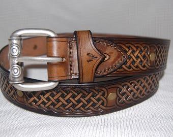 leather belt. celtic belt, celtic design,mens belt .ladies belt handmade hand carved hand stitched