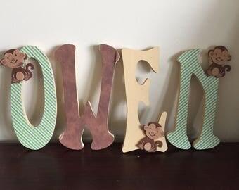 Animal Adventure Nursery Wooden Name Letter
