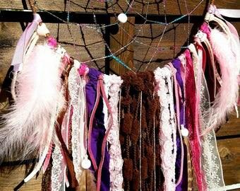Attrape rêves ethnique, indien, plumes, dentelle, dreamcatcher