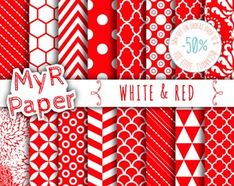 """SALE 50% Christmas Digital Paper: """"White & Red"""" Digital Paper Pack and Backgrounds with Chevron, Damask, Triangles, Stripes and Polka Dots"""