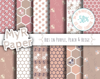 "Bee digital paper: ""PURPLE, PEACH & BEIGE"" patterns pack and backgrounds with bees, honeycombs, honey bees and flowers"