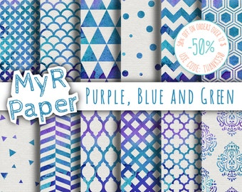 """Watercolor Digital Paper: """"Purple, Blue and Green"""" for scrapbooking, invite, card – damask, triangles, dots, chevron, hexagons"""
