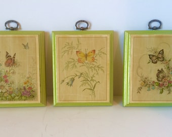 Vintage Decoupage Butterfly Plaques, Butterfly Decorations, Decoupage, Butterfly Wall Art, Wall Plaque, 1970s