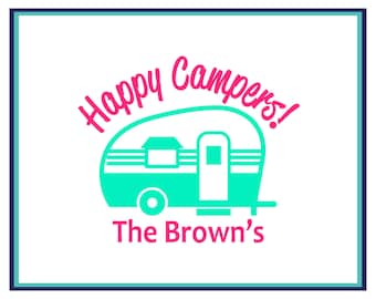 Camping Decal - Happy Camper's Decal - Family Name Decal - Camper Decal - Car Decal - Window Decal - Personalized Camp Decal - Camper