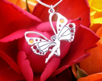 Sterling Silver Korean Butterfly Lady Necklace ~ Engraved From My Original Artwork