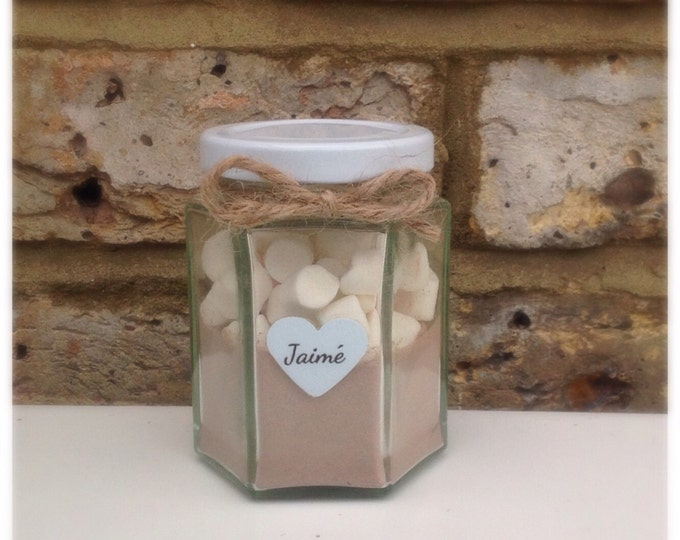 Personalised jar of hot chocolate with mini marshmallows | Christmas hot choc | Cosy nights in :)