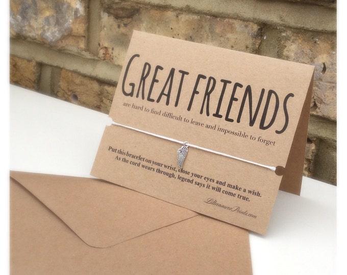 Friend Card with Wish Bracelet | Birthday Card | Charm Bracelet & Card. Blank inside Friends bracelet
