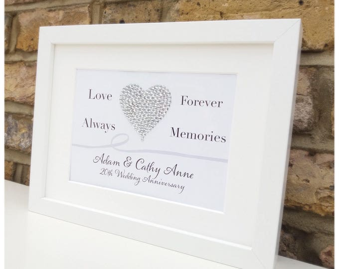 Personalise Love Heart framed print | Crystal heart | Wedding or Anniversary gift | Any wording!