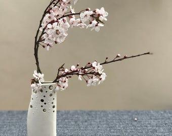 White ceramic bud-vase, 'sea-foam' Vase, coastal chic, Valentine gift, Mothers Day Gift