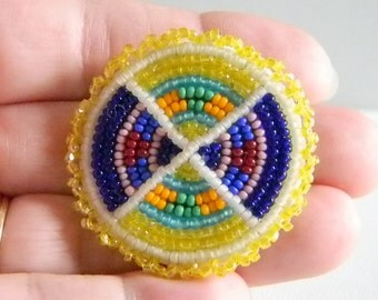 Multi Colored Seed Beaded Native American Design Look Pin Brooch