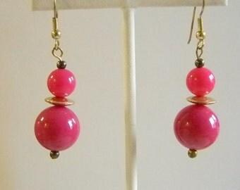 Pink Plastic Beaded Dangle Pierced Earrings
