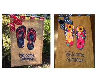 Flip Flop Summer Garden Personalized Embroidered Burlap Flag Door Hanger
