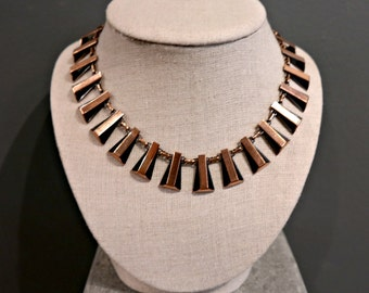 Vintage Modern RENOIR Signed Copper Necklace, Mid Century