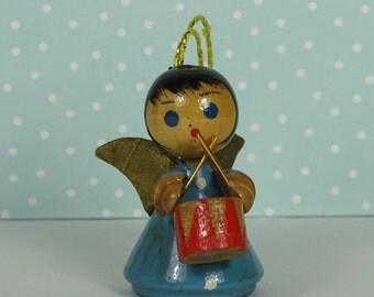 Vintage angel Christmas ornament drum blue 1950s