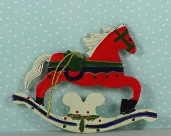 Vintage rocking horse Christmas ornament red white wood 1970s