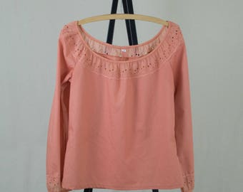 Vintage Womens Small 70s Coral Peasant Top Shirt