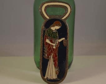 Vintage brass,enamel bottle opener,greek female god figure