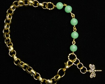 Jadite And Etched Goldtone Bracelet With Dragonfly Charm