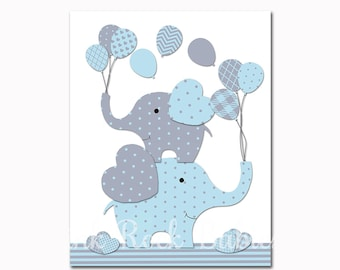 Blue elephant nursery wall art, baby boy nursery decoration, kids room artwork, blue grey, elephants wall decor children room poster for boy
