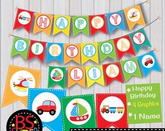 Transportation Party Birthday Banner , Transportation Birthday Party Banner , Custom Name Banner
