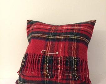 Red Tartan Wool Cushion
