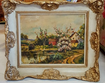 Set of 4 Scenic Oil Paintings, 1930's, signed Scharf