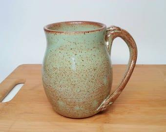 Wheel-Thrown Pottery Mug, ceramic leaf mug, coffee mug