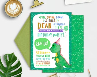 Dinosaur Birthday Invitation, Dinosaur Birthday Party Invitation, Dinosaur Printable Invitation, Boys Dinosaur Birthday, Dino Boy Birthday