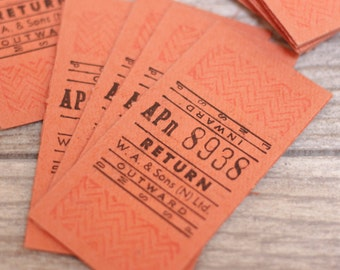 10 x Vintage Bus Tickets British European Orange Transportation Scrapbooking Ephemera Junk Journal